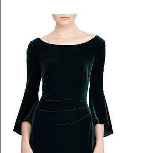 Dark green velvet bell sleeve long formal gown.